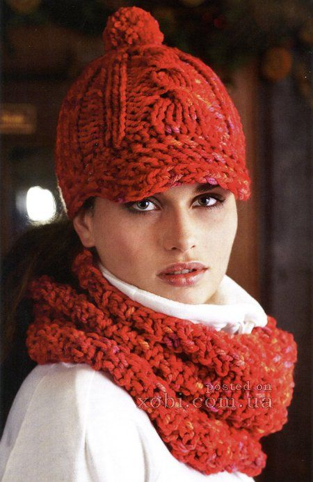 вязаная кепка и шарф-хомут