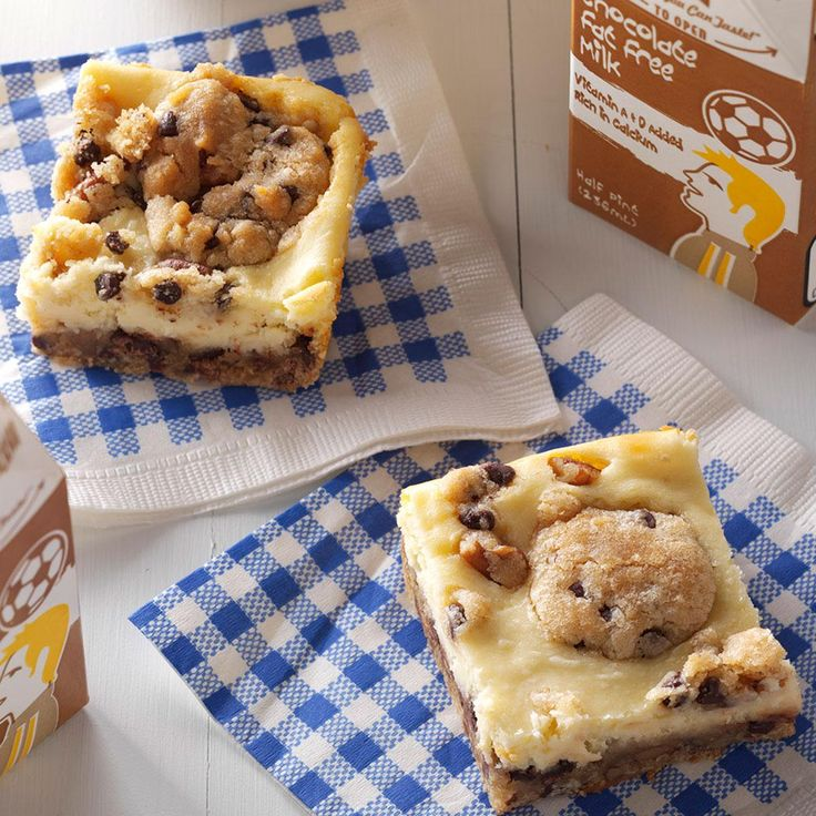 Chocolate Chip Cheesecake Bars Recipe -I received this recipe from a co-worker who made these heavenly bars for a potluck. Since they combine two favorite flavors—chocolate chip cookies and cheesecake