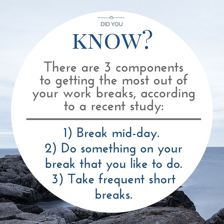 A study from the Journal of Applied Psychology determined that there are three components to getting the most out of your work breaks. The characteristics of great breaks include:  1) Breaking mid-day because you replenish more energy, concentration and motivation mid-day than during any other time. 2) Doing something on your break that you like to do and choose to do, which leads to better recovery and a more restful break. 3) Taking frequent short breaks, as they allow you to recharge and…