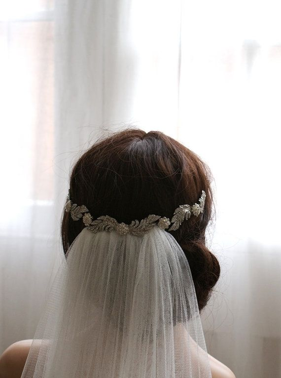 Crystal Hair-Vine Bridal Headpiece and soft traditional veil in English Net. waltz, chapel, cathedral length