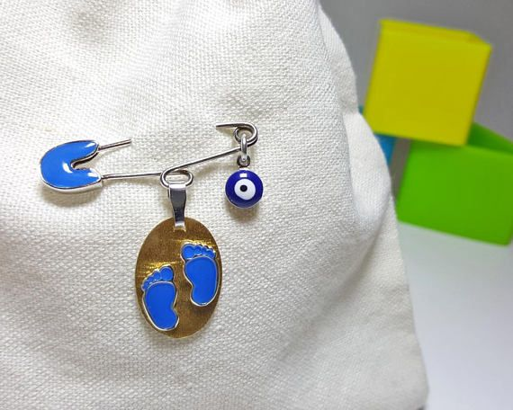 New Born Gifts, New Baby Pin, Newborn Gifts Boy, Evil Eye Pin for Babies, Evil Eye Safety Pin, Baby Talisman, Sterling Silver Baby Brooch