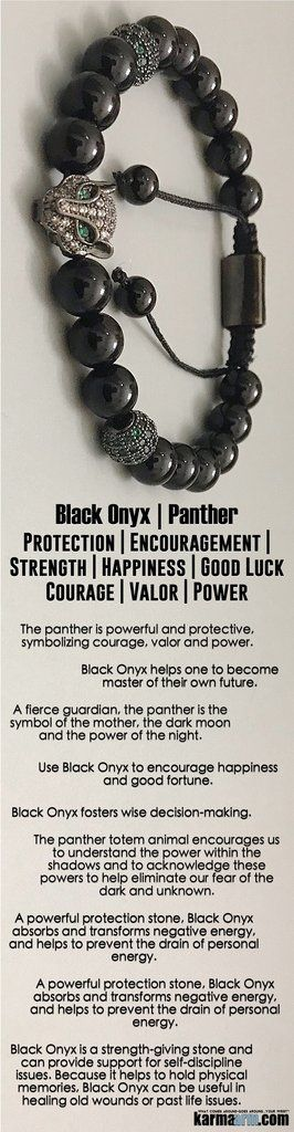 The panther is #powerful and #protective, symbolizing #courage, #valor and #power. A fierce guardian, the #panther is the symbol of the mother, the dark moon and the power of the night. #Beaded #Beads #Bijoux #Bracelet #Bracelets #Buddhist #Chakra #Charm #Crystals #Energy #gifts #gratitude #Handmade #Healing #Jewelry #Kundalini #LawOfAttraction #LOA #Love #Mala #Meditation #Mens #prayer #pulseiras #Reiki #Spiritual #Stacks #Stretch #Womens #Yoga #YogaBracelets