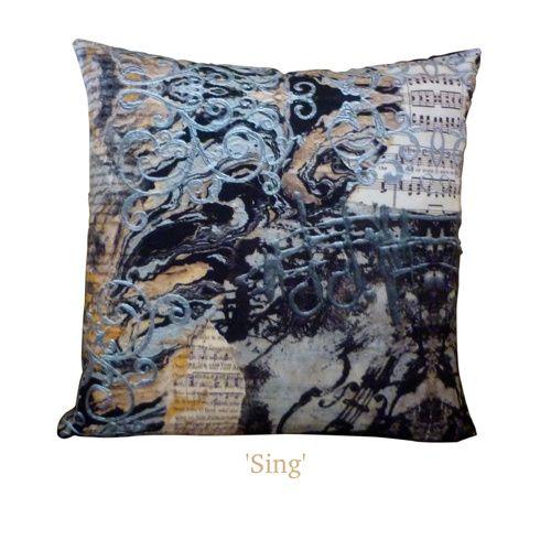'Sing' Art Cushion | Throw Pillow - Unique original handmade designs, soft, silky, luxurious! $65 http://coloursofhope.com.au/store?category=cushion