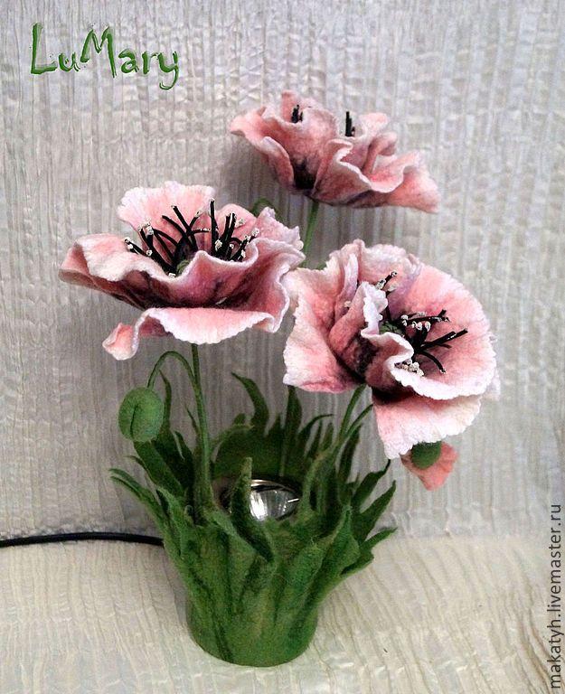 """Купить Светильник """"Любимой дочке"""" - бледно-розовый, настольная лампа, войлочные цветы, ночник, маки"""