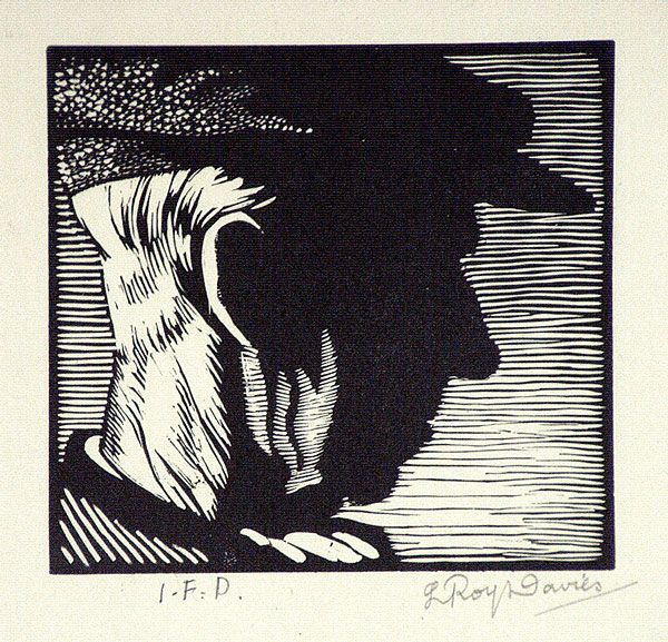 I.F.D. (Portrait of the artist's father) by L. Roy Davies ~  Wood Engraving