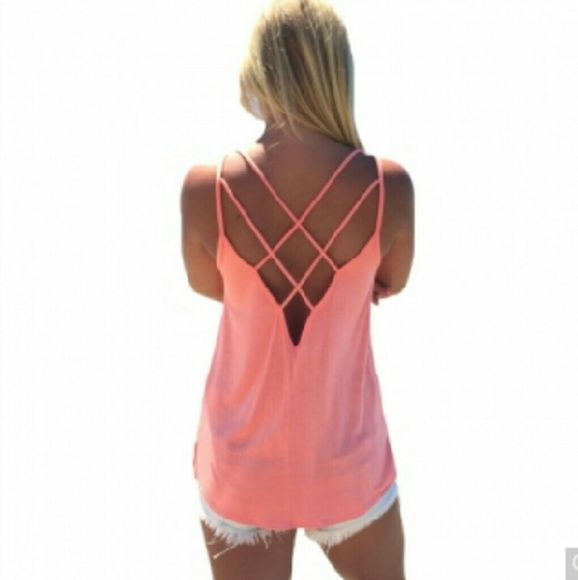Criss cross tank Criss cross tank, available in blue or pink Cotton blend boutique Tops Camisoles