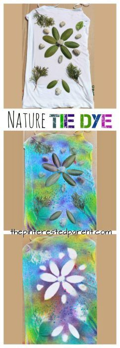 Nature Tie Dye Shirts - These t-shirt designs were made from rocks, leaves, twigs & other things found in nature. This is a fun spring or summer art activity & craft for kids or for adults