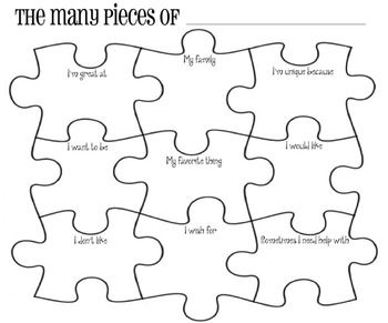 """The Many Pieces Of ____ [Joey] Puzzle Piece Poster - """"I'm great at; My family; I'm unique because; I want to be a; My favorite thing is; I would like; I don't like; I wish for; Sometimes I need help with"""""""