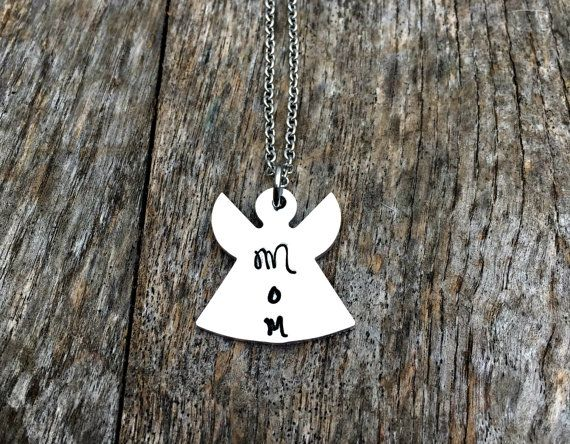 Angel Mom, Loss Necklace, Memorial Gift, RIP, Loss of Loved One, Hand Stamped Jewelry, Baby Loss, Miscarriage, Mother Death, Personalized