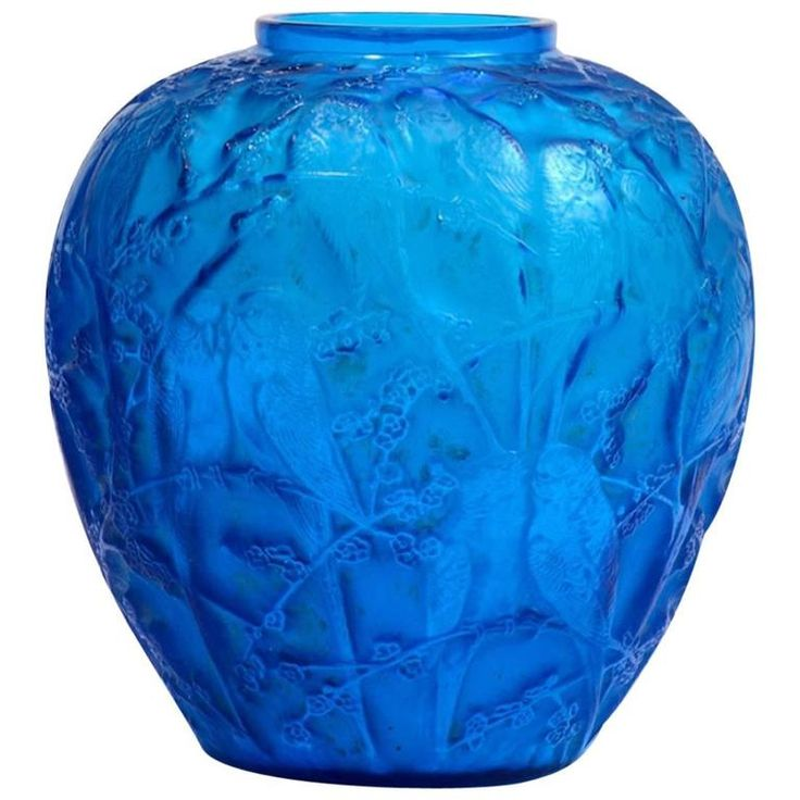 "Rene Lalique Electric Blue Vase ""Perruches"" 