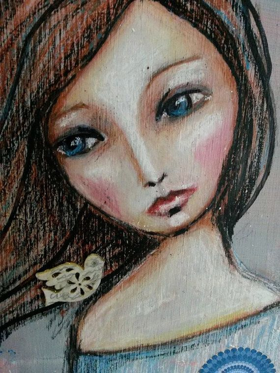 Painting Girl On Wood..Birdcage. by cameosandroses. Explore more products on http://cameosandroses.etsy.com