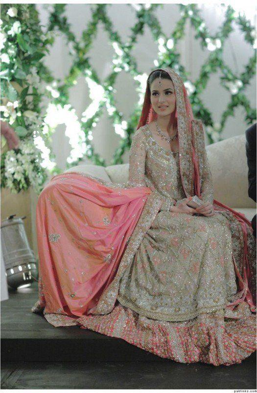 Pakistani Walima dresses 2016- peach pink                                                                                                                                                      More