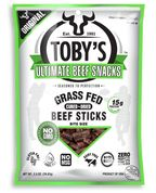 Toby's Bite Size - Grass Fed Beef Sticks, the Ultimate Paleo snack  (meaning that it is sugar and wheat-free, with no chemical nasties either)