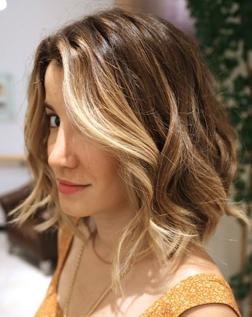 Graduated lob with poppin 39 face framers tipped out ombre for Long bob ombre