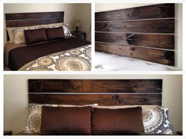 One of the simplest headboards on this list---you just take four pieces of wood, sand and stain them, and then hang them with heavy duty command strips.