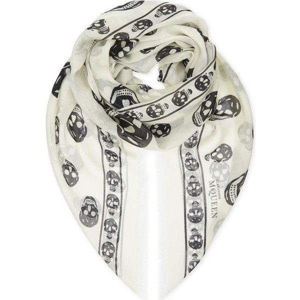 ALEXANDER MCQUEEN Skull scarf (87.255 HUF) ❤ liked on Polyvore featuring accessories, scarves, skull shawl, alexander mcqueen shawl, skull print scarves, skull scarves and patterned scarves