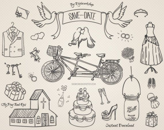 "Digital Wedding #Clipart ClipArt - ""Wedding Clipart"" - Great for Invitations  This amazing hand drawn wedding clip art set contains 24 different hand drawn #bridal elements i... #etsy #digiworkshop #scrapbooking #illustration #creative #clipart #printables #cardmaking"