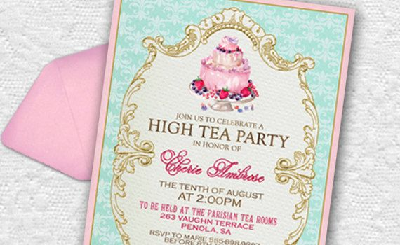 High Tea Invitation French Tea Party Printable Pink and Aqua For Birthday, Bridal Shower or Any Occasion!