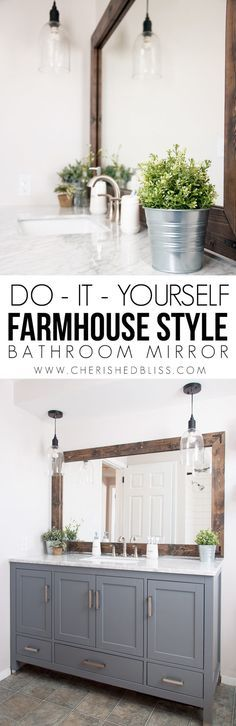 Add character to your bathroom with this DIY Farmhouse Style Bathroom Mirror Tutorial. It's a great way to update those boring builder style mirrors in your bathrooms. It's so rustic but so classy all at the same time. I love it!