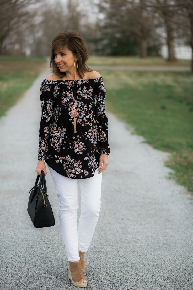 Off The Shoulder Tunic + White Jeans for women over 40