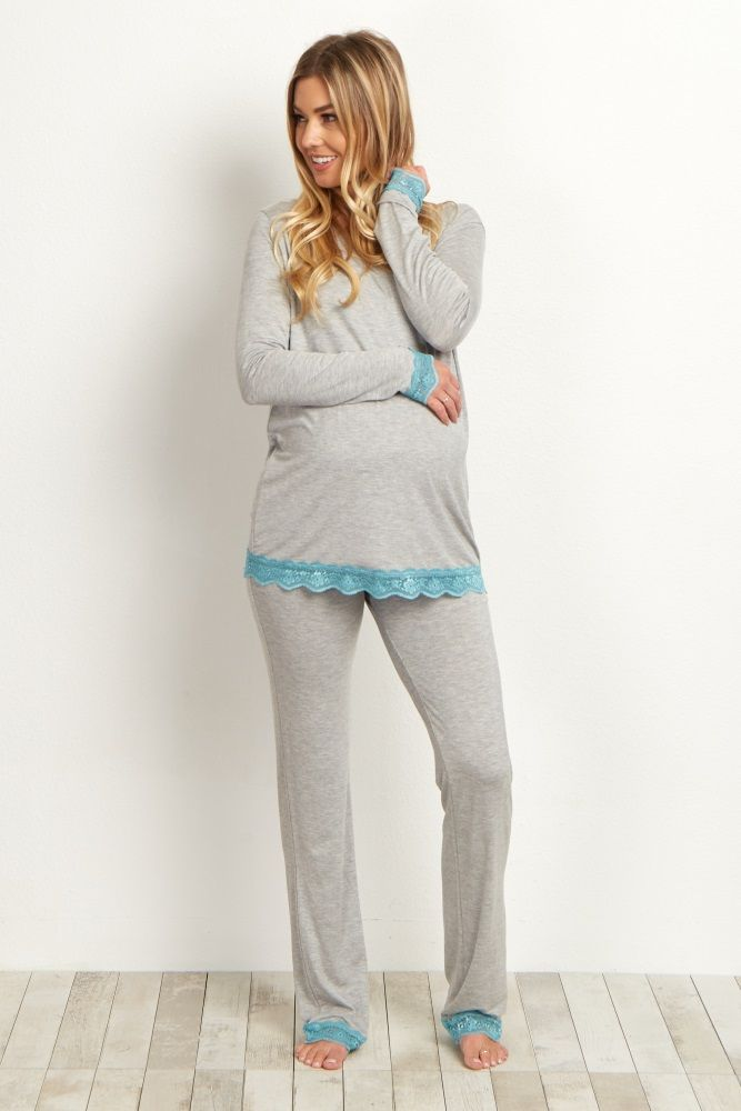 This lightweight maternity pajama top is the perfect sleepwear to cozy up in. Pair this comfy top with the matching lace trim bottoms for a feminine sleepwear set you can lounge in all night and morning long.