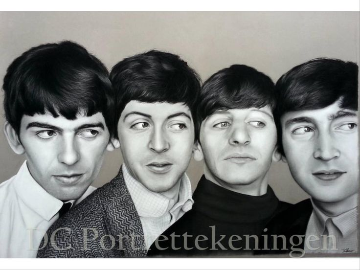 """""""The Beatles"""" realistic portrait drawing made with pastelpencils and pastelchalc"""
