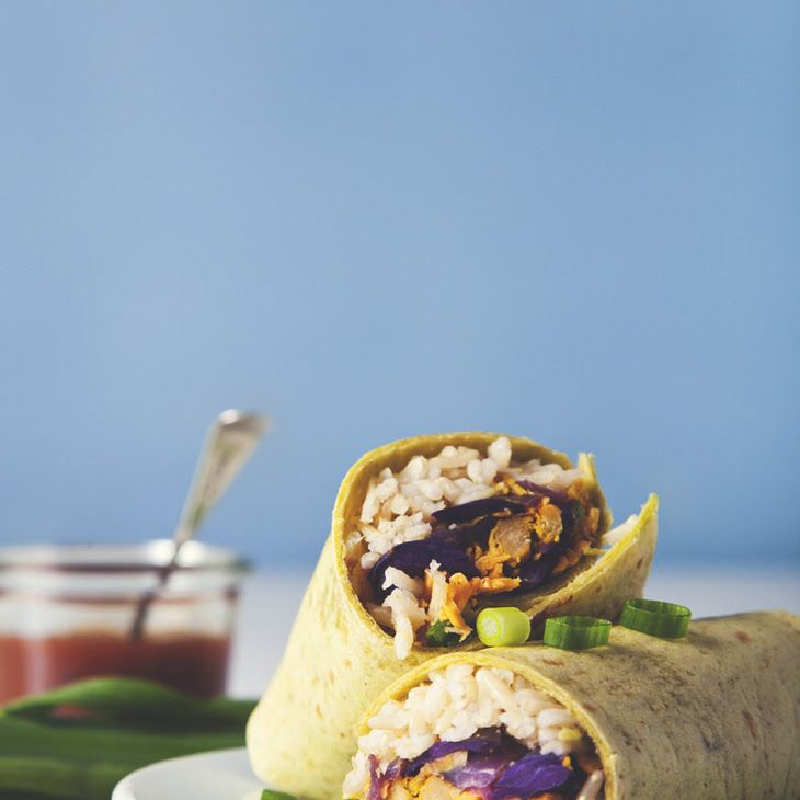 Vegan Freezer Burritos Recipe Main Dishes with tortillas, cooked brown rice, chickpeas, vegan cheese, green onions, salsa