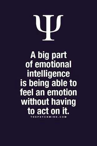 a big part of emotional intelligence is being able to feel an emotion without having to act on it.