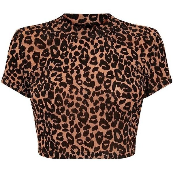 Adelynn Camel Leopard Mesh Crop Top ($8) ❤ liked on Polyvore featuring tops, brown top, camel top, leopard print tops, leopard top and cropped tops