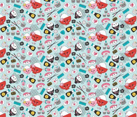Kawaii_Sushi_blue fabric by suzanne_dye on Spoonflower - custom fabric