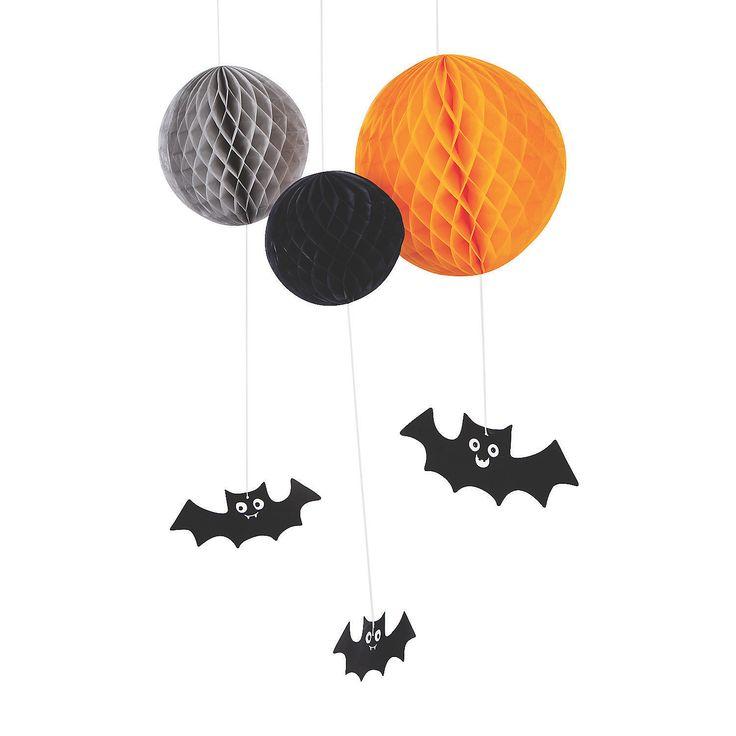 Hanging Honeycomb with Bat Halloween Decorations