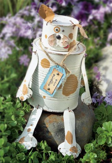 tin can doggie from crafts n things magazine (have to subscribe to mag to get diy instructions) https://www.craftsnthings.com/account/logon?ReturnUrl=%2fprojects%2fdetails%2f1824%2ftin-can-doggie&/projects/details/1824