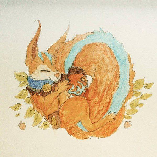 Ratatoskr Watercolour by Kisekii-i.deviantart.com on @DeviantArt