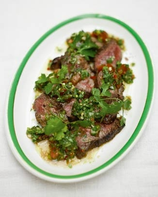 steak and salsa verde #rockingBeef Recipes, Dinner, Flank Steak, Food, Salsa Verde, Meat, Olive Uk, Eating, Jamie Oliver'S