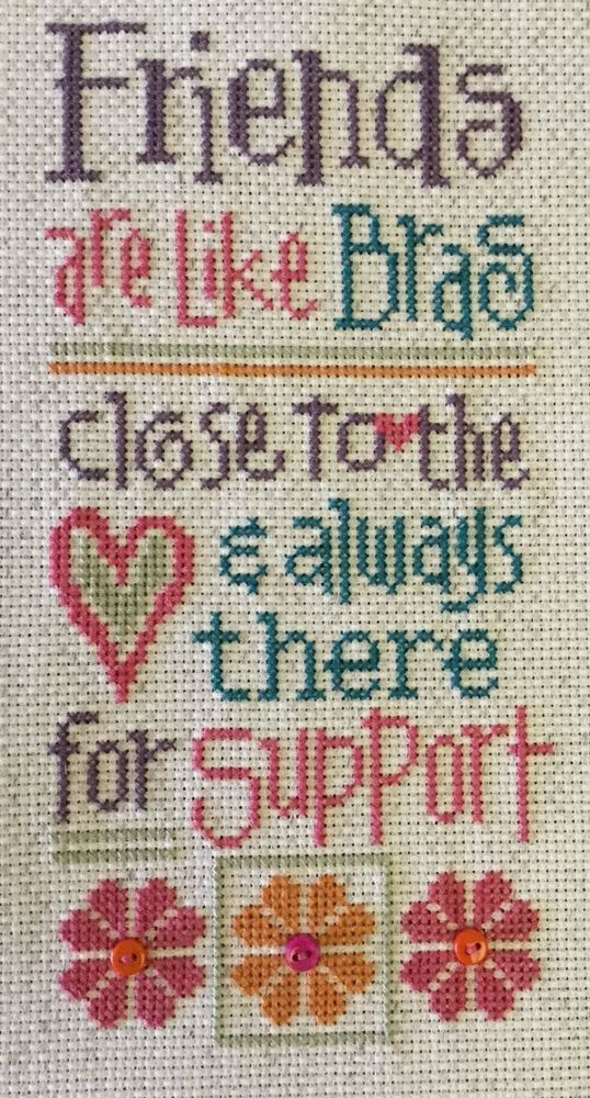 completed cross stitch Lizzie Kate Friends are Like Bras