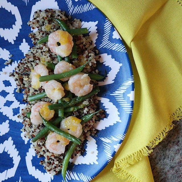 Quinoa With Shrimp And Green Beans (with Citrus Ginger Glaze)