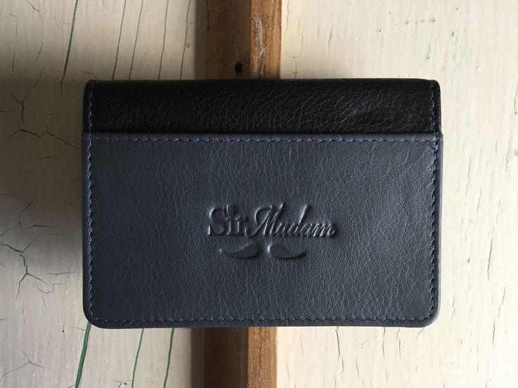 Bi fold card holder - grey and black full grain leather