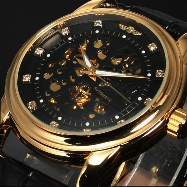 Winner Top Brand Luxury Royal Diamond Design Black Gold Watch Montre Homme Mens Watches Relogio Male Skeleton Mechanical Watch