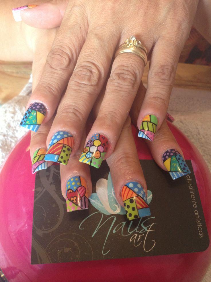 Acrylic nails, nails art, romero britto nails
