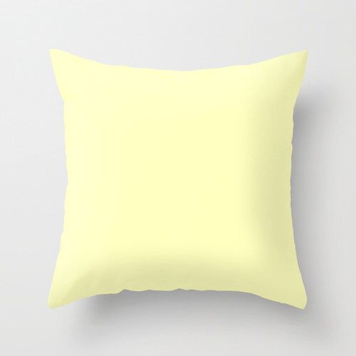 Very Pale Yellow Pillow, #FFFFBF, Solid Yellow Throw Pillow, Solid Yellow…