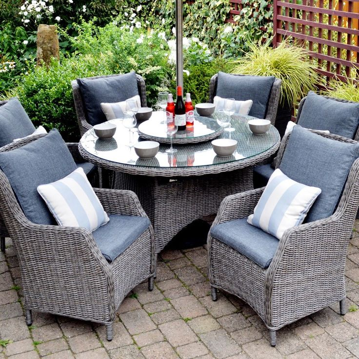 Marvelous Saigon Heritage 6 Seat Highback Dining Set In A Subtle Ash Grey Colourway.  Quality Weave
