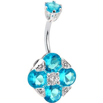 Sterling Silver 925 Aqua Cubic Zirconia Empress Belly Ring | Body Candy Body Jewelry