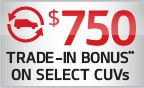 $750 Rondo TRADE-IN BONUS  This month at Kia take advantage of $750 Rondo TRADE-IN BONUS towards cash, finance or lease offer on 2014 Rondo.