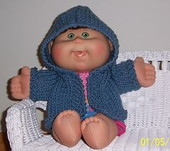 Hooded Sweater for a Cabbage Patch Doll Free Knitting pattern.