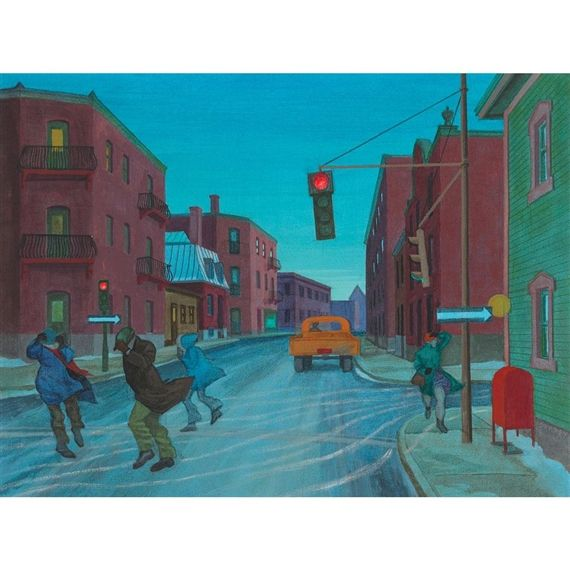 Artwork by Philip Henry Surrey, RUE ST. ANTOINE, MONTREAL, Made of oil on canvas