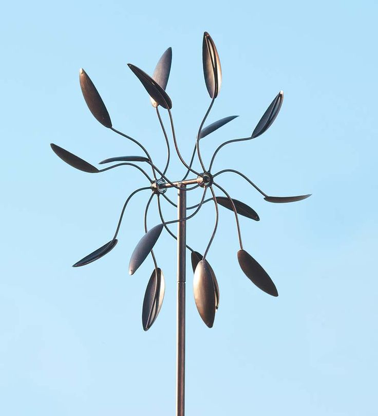 This Garden Dance Windcatcher Has A Weather Resistant Antique Copper Finish  And Features 16 Spoon Like Leaf Wind Catchers On Two Independently Spinning  ...