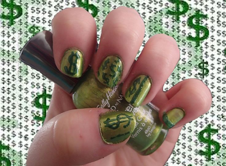 Nail Art Challenge, Day 29: Money Nails