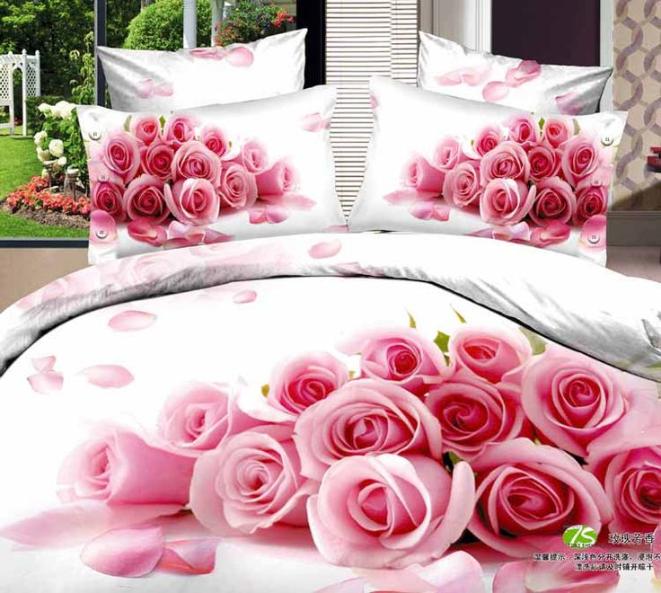 Painting Heart Taking Roses Reactive Print Cotton Queen/ King Size Bedding  Sets