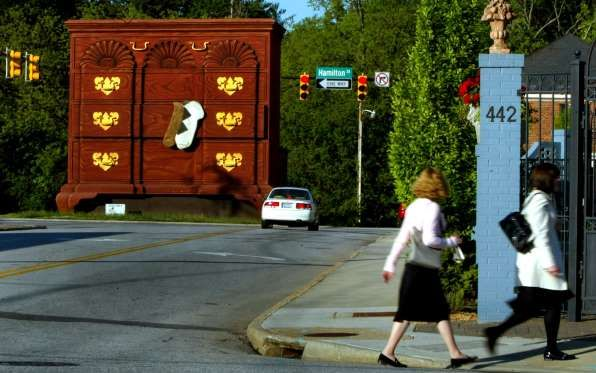 WORLD'S LARGEST CHEST OF DRAWERS Location: High Point, North Carolina, U.S. Record: Four-story high The world's largest chest of drawers was built in 1926 to draw attention to High Point as the home furnishings capital of the world.
