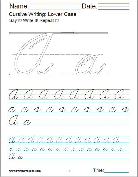 Printable Cursive Writing Worksheets PDF for learning the